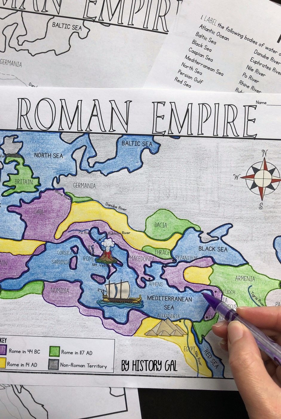 Roman Empire Map Activity (Print and Digital)   Map activities [ 1402 x 941 Pixel ]