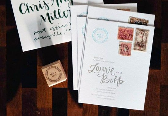 Oh So Beautiful Paper: Laurie + Bohb's Travel-Inspired Vintage Stamp Save the Dates