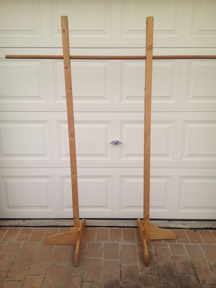 Portable Clothes Rack Hanging Rack Solid Wood With Adjustable Height. Note  Adjustable Height And Width