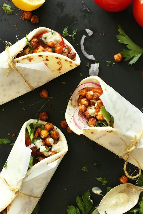 LUNCH TIME!!  30-minute Chickpea Shawarma Sandwich with spicy baked chickpeas, creamy Garlic Dill sauce, and fresh vegetables. A healthy, satisfying plant-based meal!