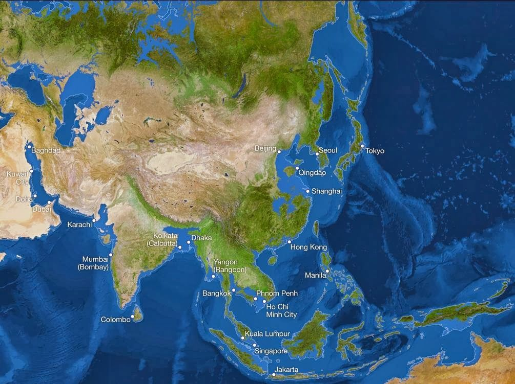 This is how Asia will look if all the ice on land has melted and