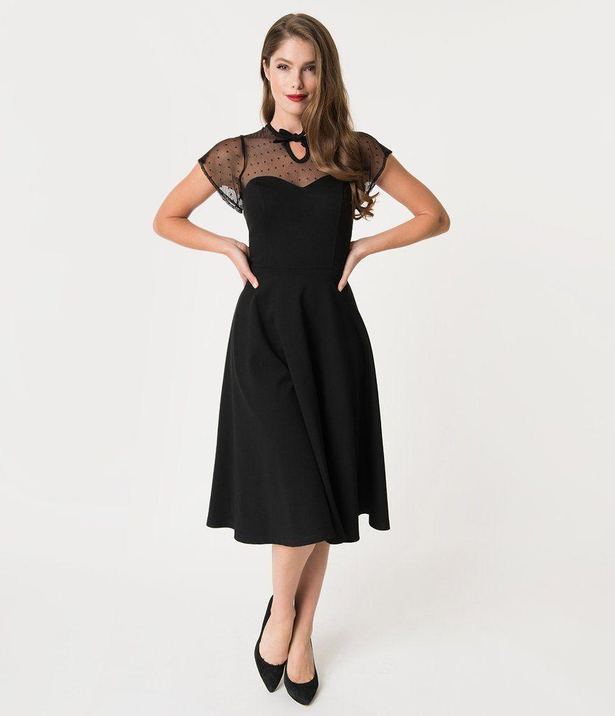 Unique Vintage 1940s Style Black Swiss Dotted Mesh Heather Midi Dress 1940s Fashion Rainy Day Dress Outfit Midi Dress [ 1023 x 879 Pixel ]