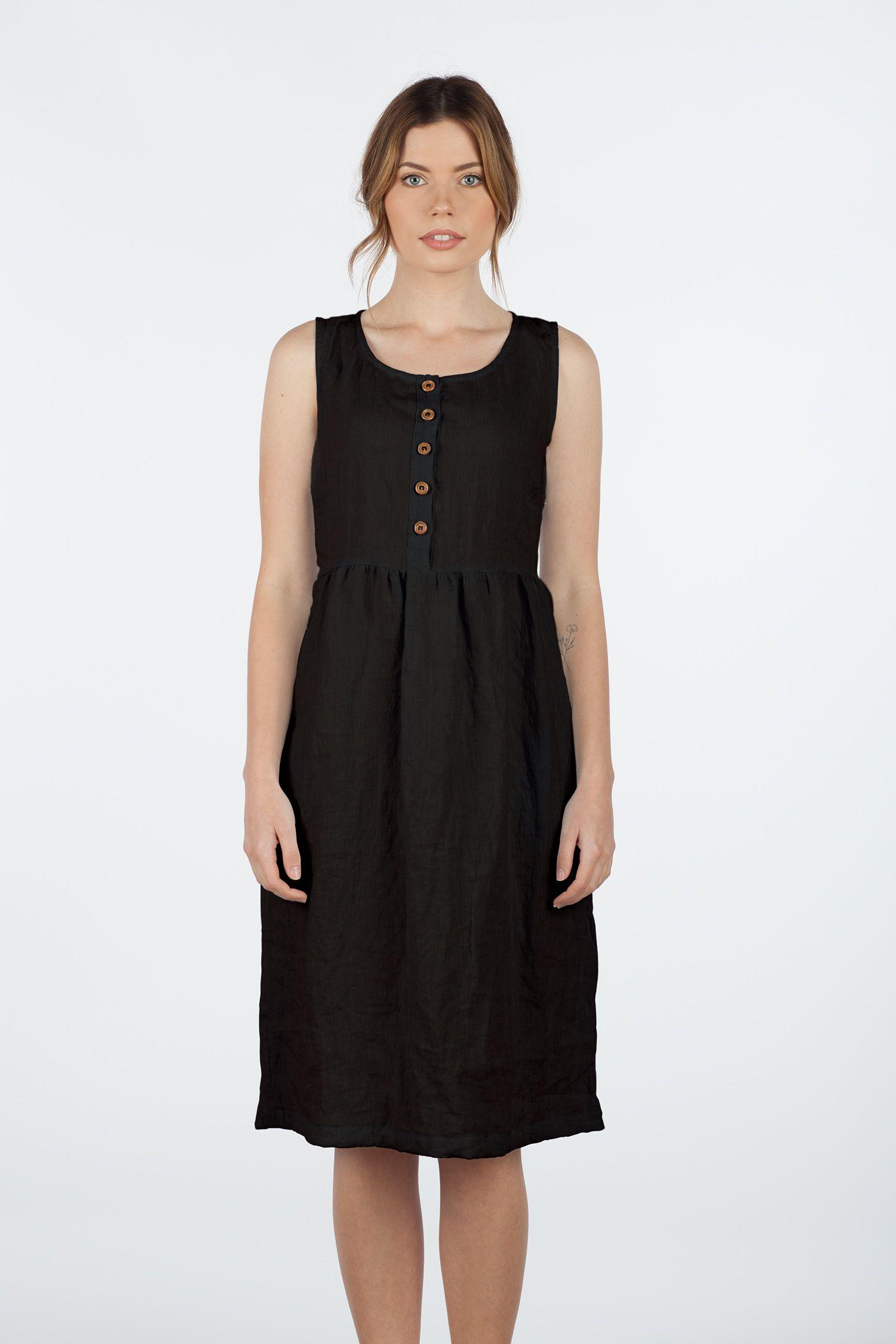 Model No 24 Black Linen Sleeveless Button Up Midi Length Dress Pyne Smith Clothiers Sleeveless Linen Dress Midi Length Dress Linen Shift Dress [ 2250 x 1500 Pixel ]