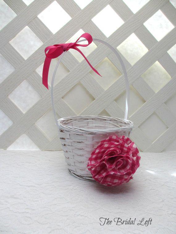 Hot pink gingham flower girl basket hot pink wedding fuchsia hot pink gingham flower girl basket hot pink wedding fuchsia wedding basket by mightylinksfo