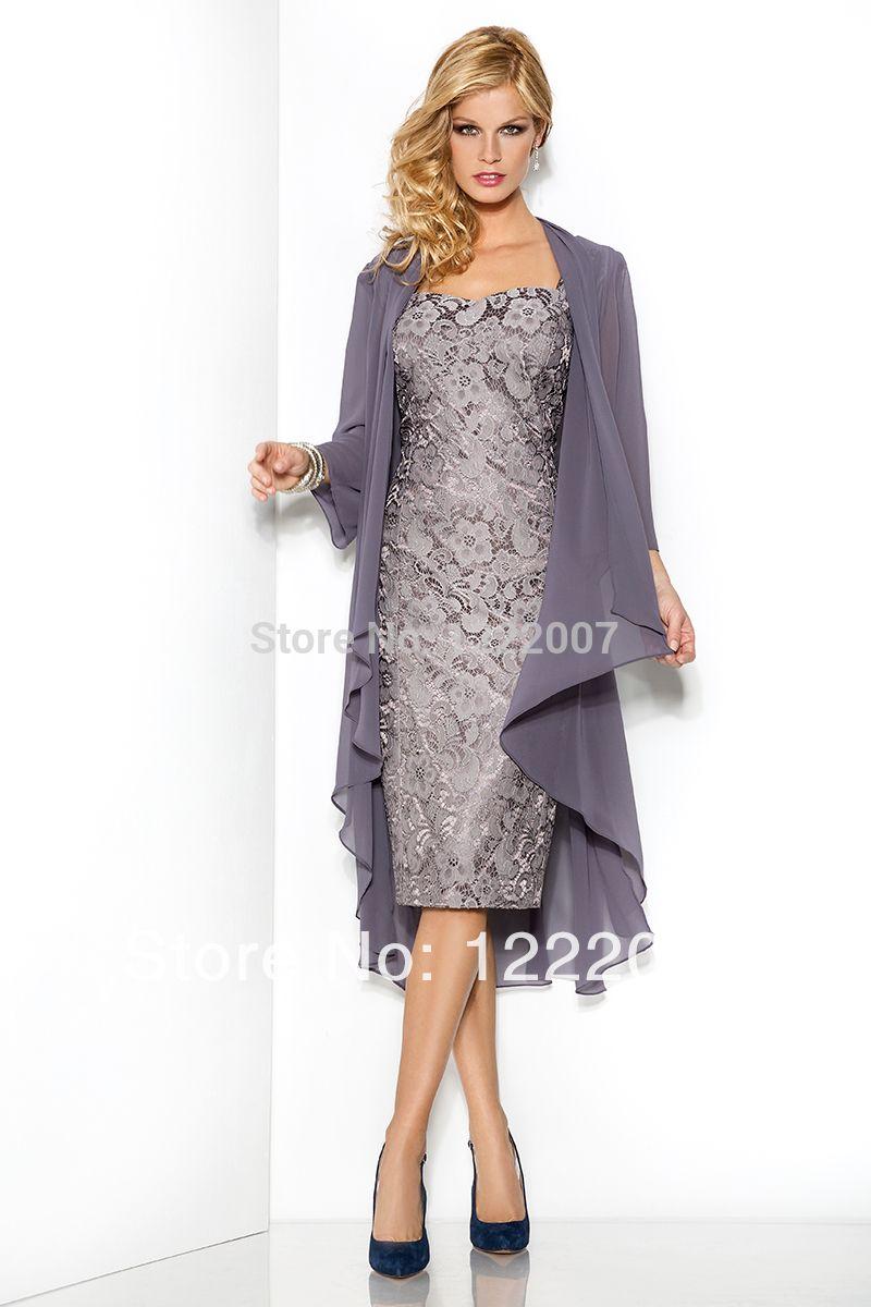 c7208673a80 Vestido de madrinha 2014 Evening Dress Long Sleeve Plus Size Knee Length  Vintage Lace Mother Of The Bride Dresses With Jacket