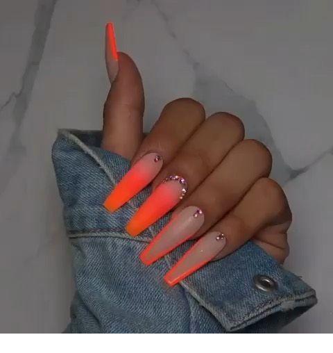 Orange Coffin Nails Ladystyle Orange Acrylic Nails Ombre Acrylic Nails Drip Nails