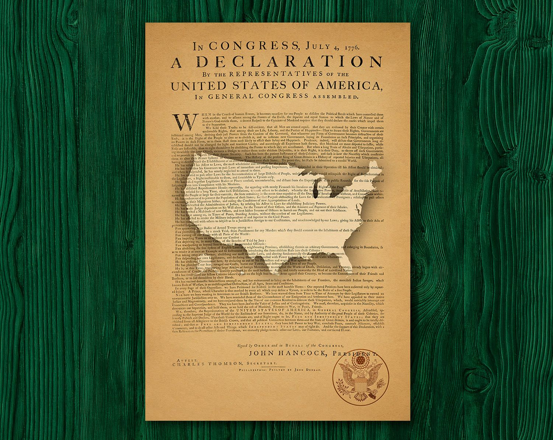 US Map Patriotic Vintage Poster Historical Print Declaration Of - Us map poster printable