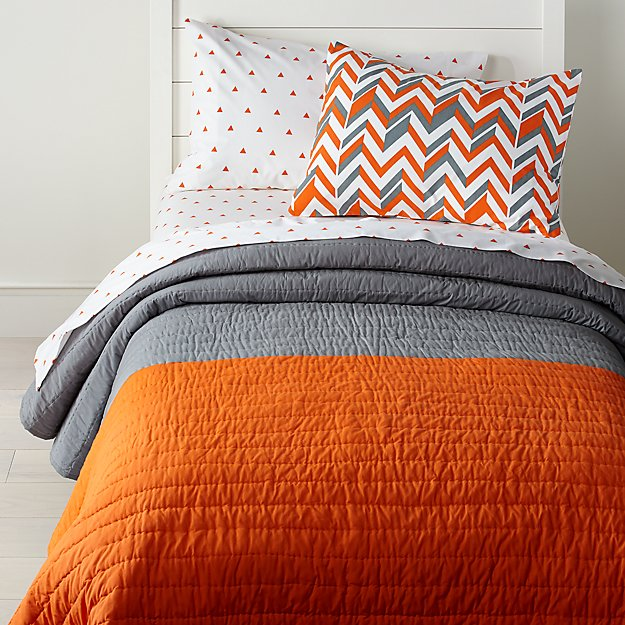 Little Prints Orange Twin Quilt, Crate And Barrel Bedding Reviews