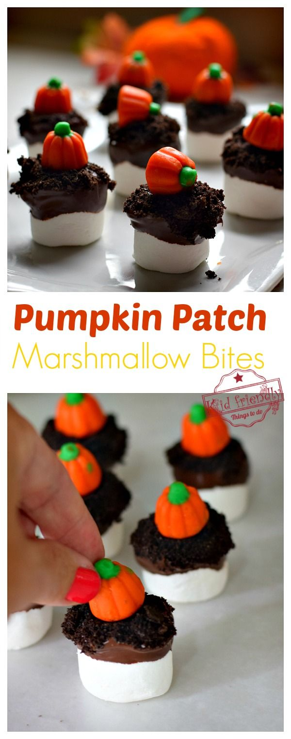 Pumpkin Patch Marshmallow Bites a Fall Treat for Kids   Kid Friendly Things To Do #marshmallowtreats