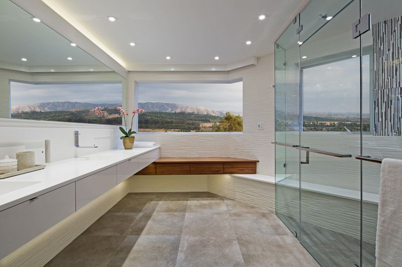 Master Bathroom with neutral colors in Modern Home in Southern California - Architecture / Interior Design
