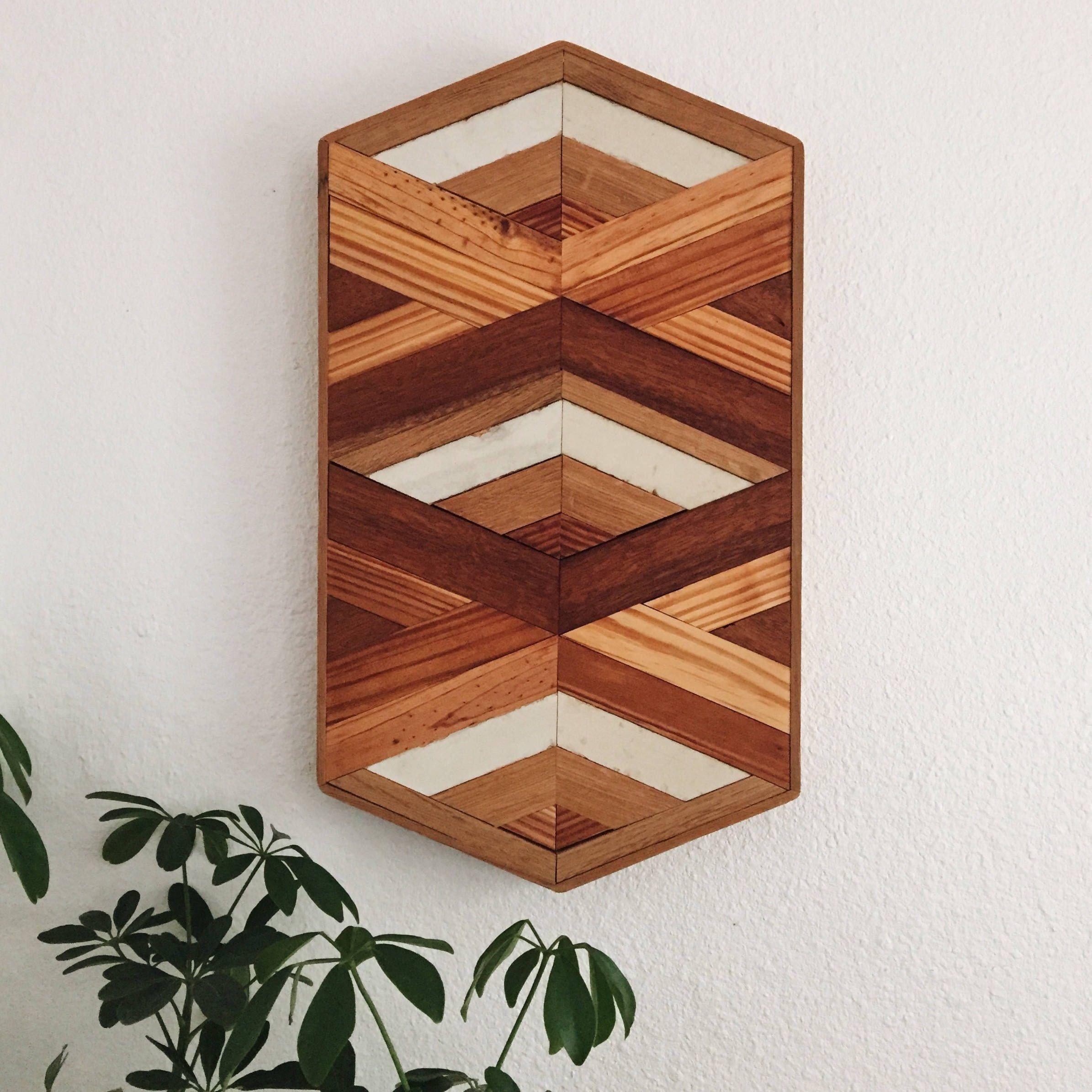 hexagon 003   reclaimed wood wall art   geometric wall art