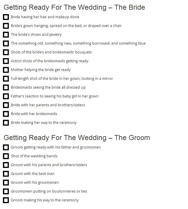 Must Have Wedding Picture List: Wedding Photo Request Checklist Use This To Instruct Your