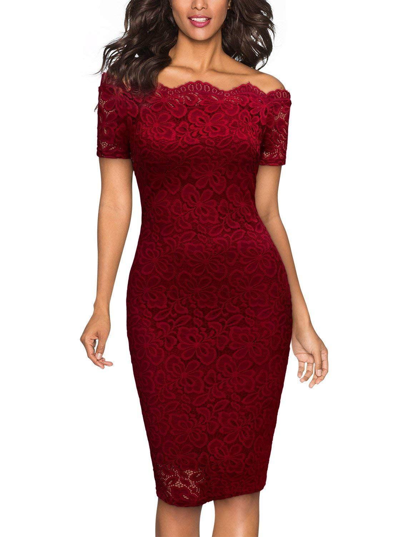 cdc55a211ee6 MIUSOL Vintage Donna Vestito Pizzo Manica Corta Vestiti  Amazon.it   Abbigliamento