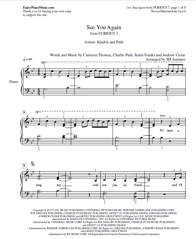 Piano piano sheet music for popular songs : See You Again (Wiz Khalifa, Furious 7) Sheet Music for Piano at ...