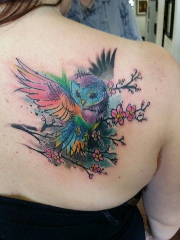 My New Watercolor Owl Tattoo Armeltatowierungen Tattoos Eule