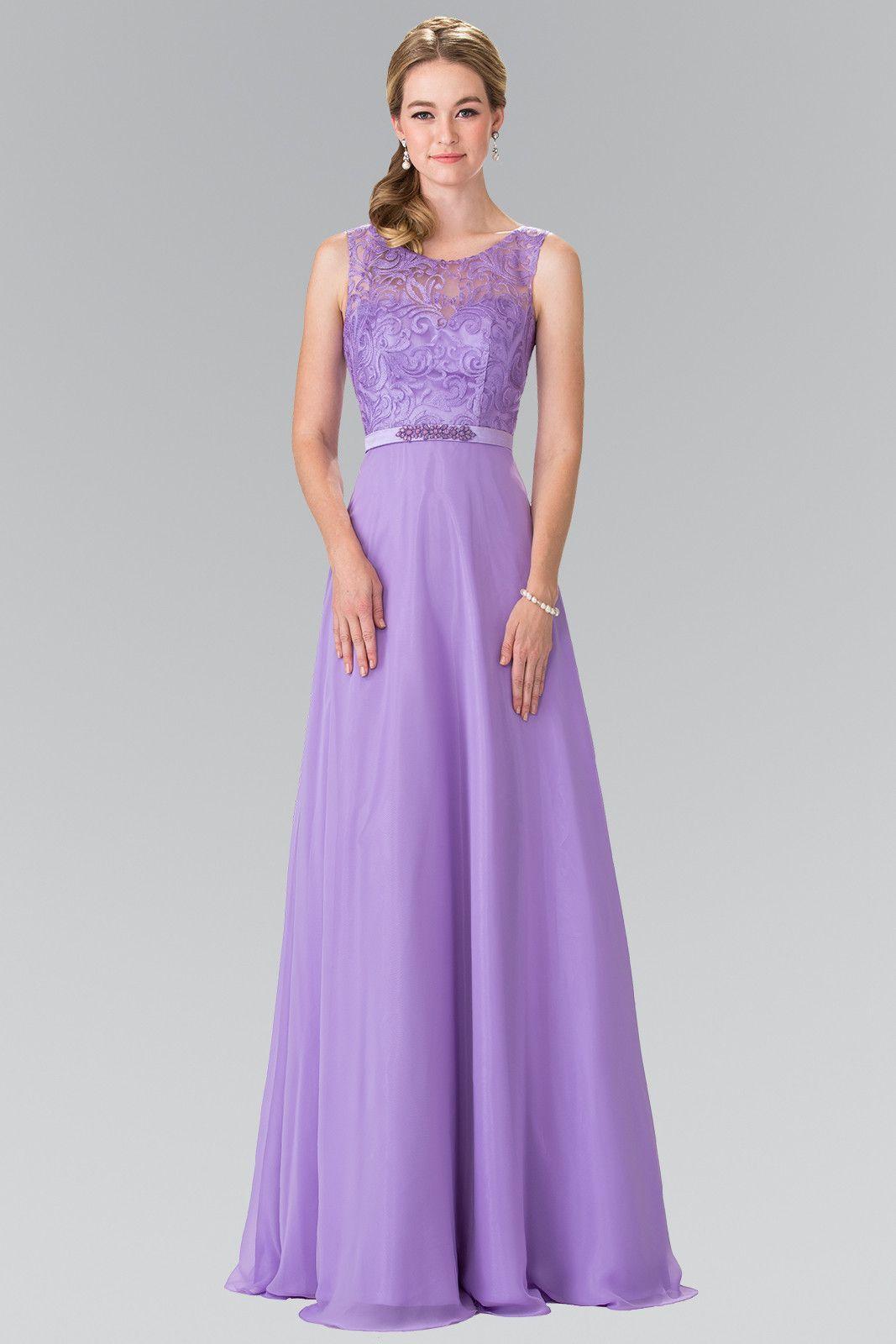 Lace bodice long chiffon bridesmaid dress Gl #2364