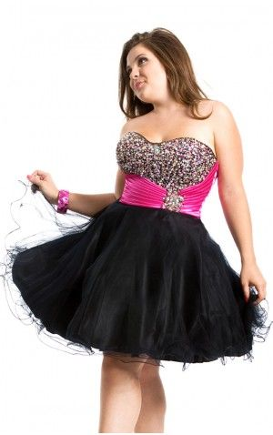 Hot Pink And Black Mini Length Ball Gown Sweetheart Plus Size