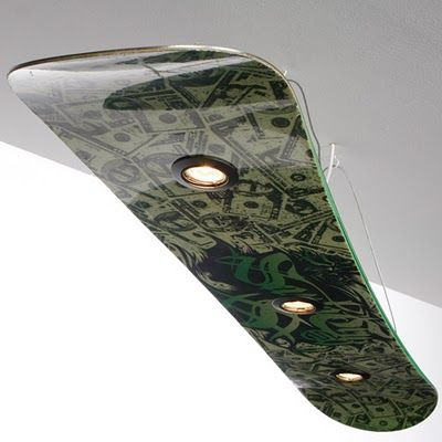 Snowboard light fixture - great for a kids room?
