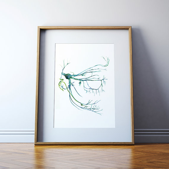 Trigeminal Nerve Watercolor Art Print Head And Neck Abstract