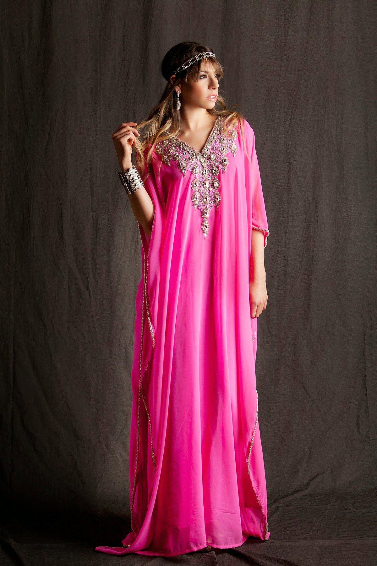 Readymade Pink Pure Georgette Designer Kaftan