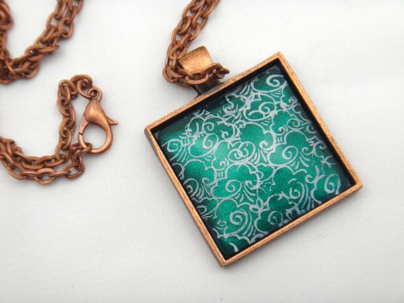 This beautiful emerald necklace was hand painted using only nail polish as the paint medium.  Read all about it on Etsy.  #EmeraldNecklace #EmeraldPendant #NailPolishNecklace #NailPolishPendant #HandPaintedNecklace #HandPaintedJewelry