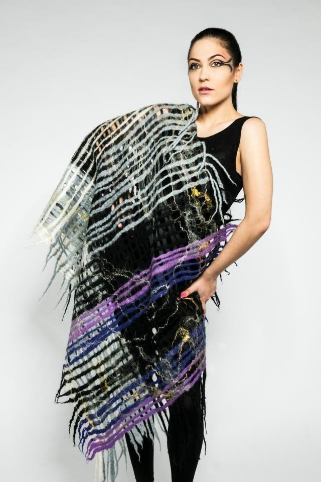 Wool felted handmade Luxury scarf wrap from pure merino wool  £85.00