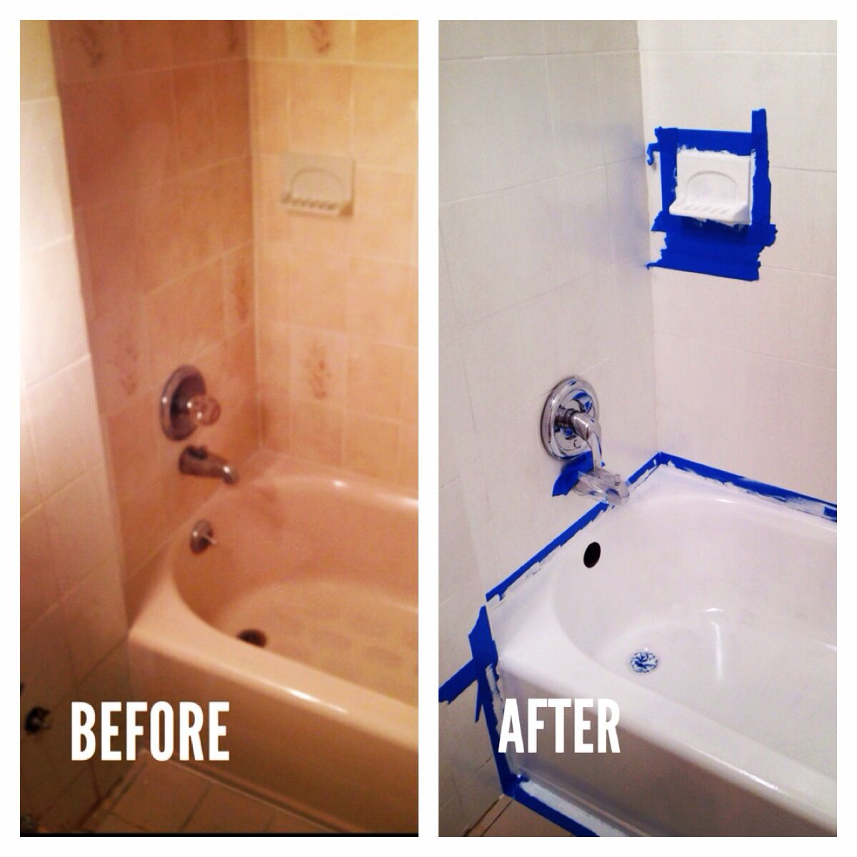 Painting Bathroom Tiles And Baths rustoleum tub & tile + rustoleum tile transformations. paint tiles