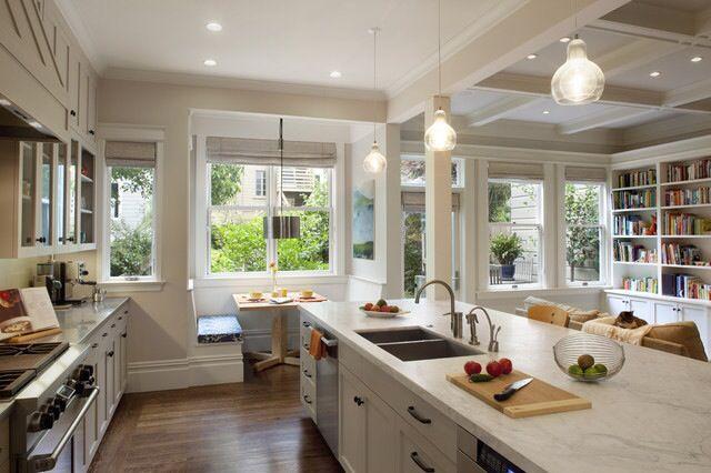 Open Concept with bench seating in the breakfast nook.
