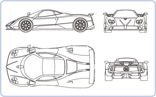 A typical blueprint showing the pagani zonda c12 f sports car a typical blueprint showing the pagani zonda c12 f sports car malvernweather Image collections