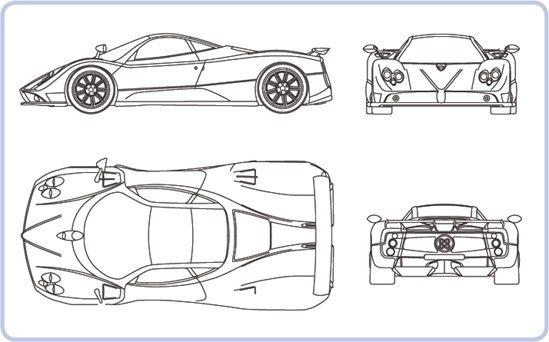 A typical blueprint showing the Pagani Zonda C12 F sports