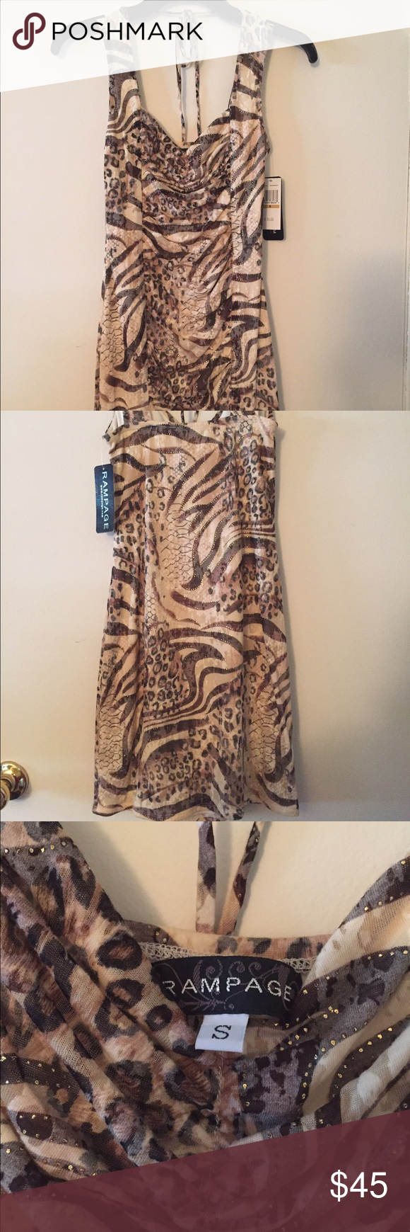 Fitted going out dress New. Zebra, cheetah print, short fitted dress. Rampage Dresses Mini