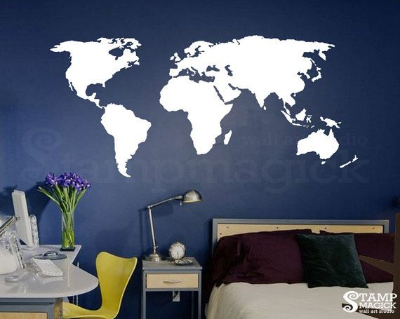 World map wall decal world map vinyl wall mural by stampmagick world map wall decal world map decal vinyl wall art mural chalkboard white chalk black board dry erase sticker continents gumiabroncs Choice Image