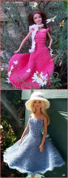 Crochet Barbie Fashion Doll Clothes Outfits Free Patterns
