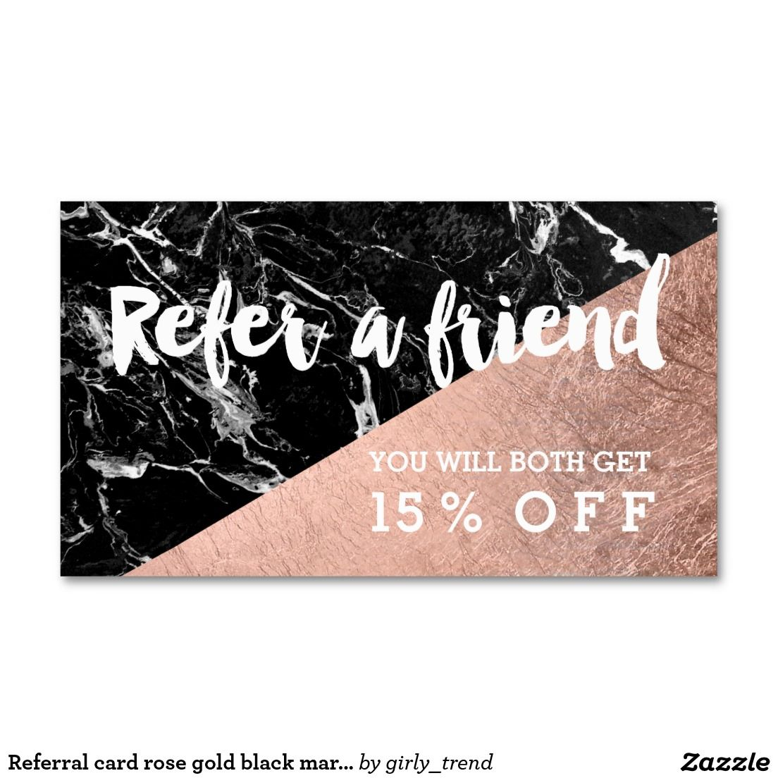 Referral card rose gold black marble color block business card ...