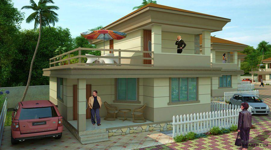 مخطط شاليه طابق ونصف 2 غرفة نوم House Elevation Row House House Styles