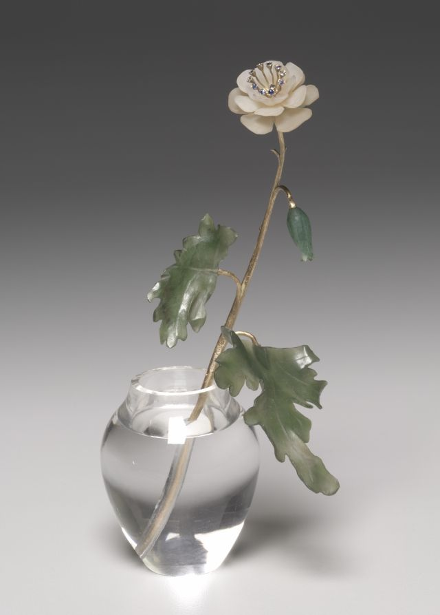 White Flower, after 1903, firm of Peter Carl Fabergé (Russian, 1846-1920), fabricated by Henrik Wigström (Russian, 1862-1923) mat white stone, gold, sapphires, jade, rock crystal, Overall - h:14.30 w:3.85 cm (h:5 5/8 w:1 1/2 inches).