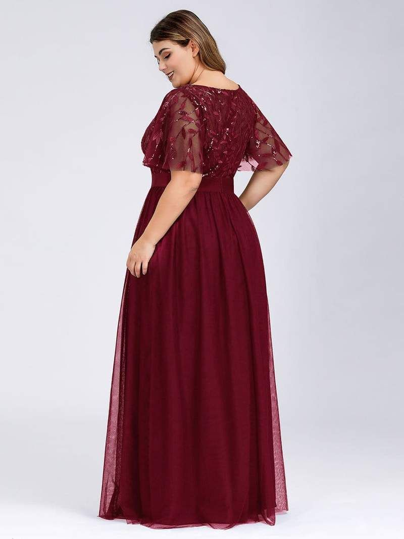 Plus Size Women's Embroidery Evening Dresses with Short ...