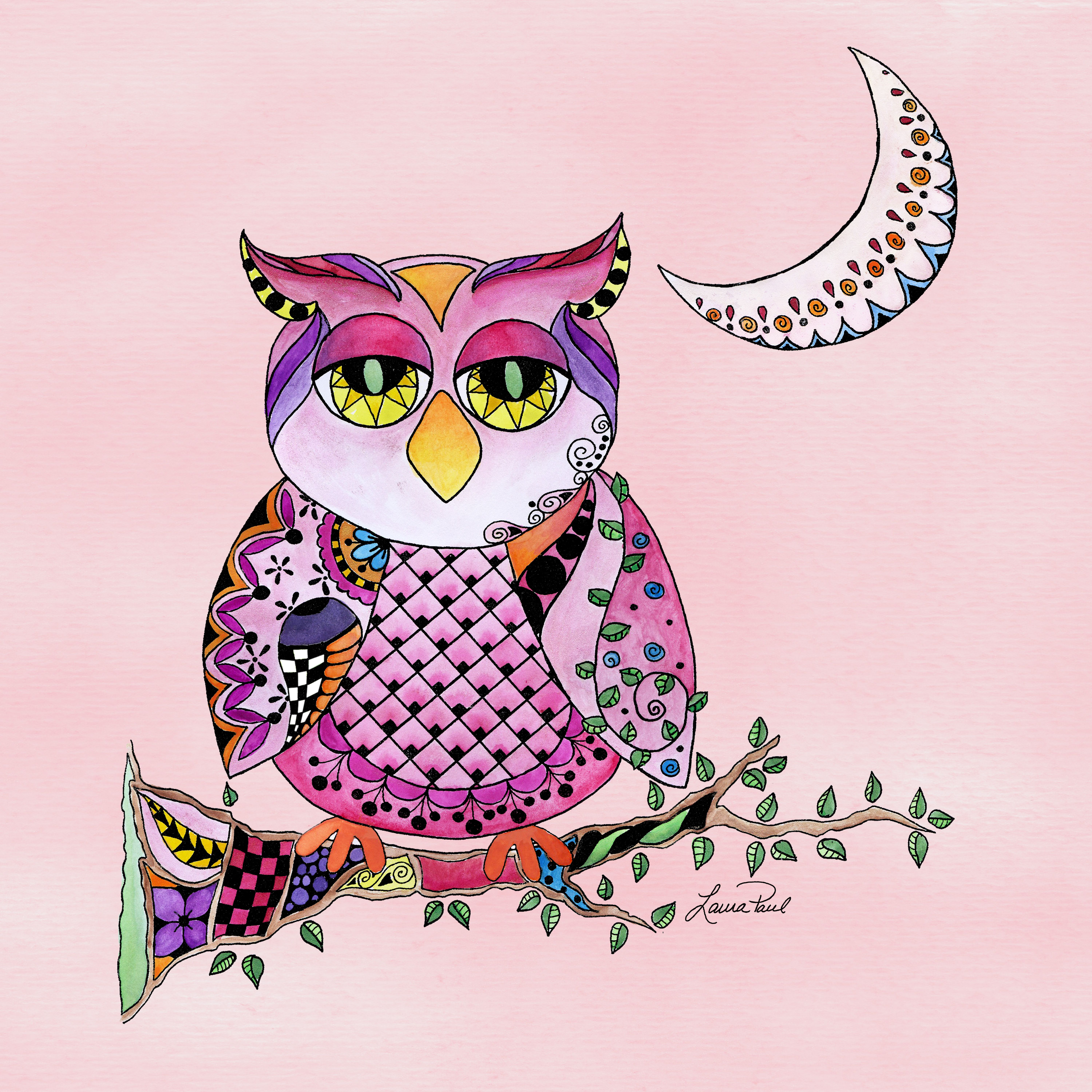 Pink Owl\' by Laura Paul -- looks like he had a late night ...