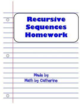 Recursive Sequences Homework Worksheet Worksheets Homework Math