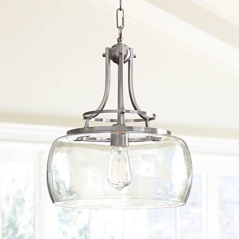 Charleston 13 1 2 wide brushed nickel led pendant light 7p203 lamps plus