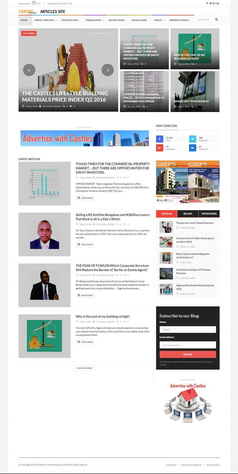 Castles Lifestyle Articles Website Design Contemporary