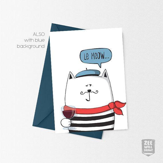 Printable Birthday Card Cat Le Meow Birthday Card By Zeewilldraw