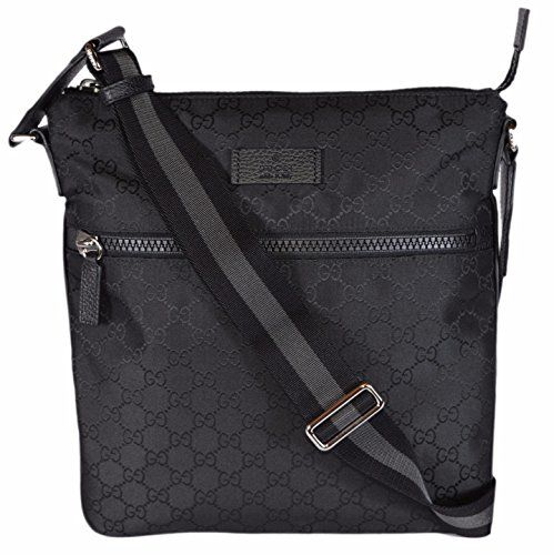 e53f41f2aa8f Gucci Men s Nylon GG Guccissima Web Trim Crossbody Messenger Bag (Black  Medium)