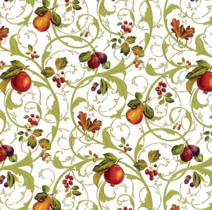 Entertaining with Caspari Florentine Fruits Continuous Gift Wrapping Paper Roll, 8-Feet, Ivory