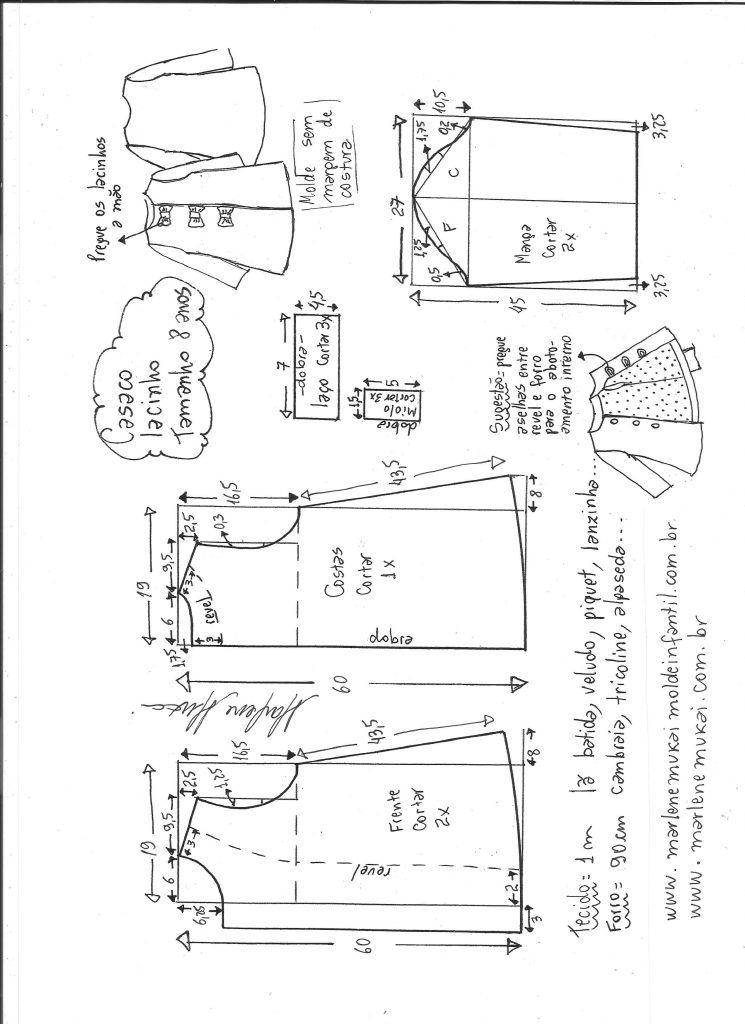 c675ca3a74113e Casaco vestido com lacinho - DIY- marlene mukai - molde infantil ...