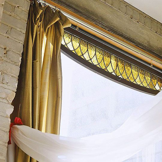 Great Stained Gl Transom Used As Window Curtain