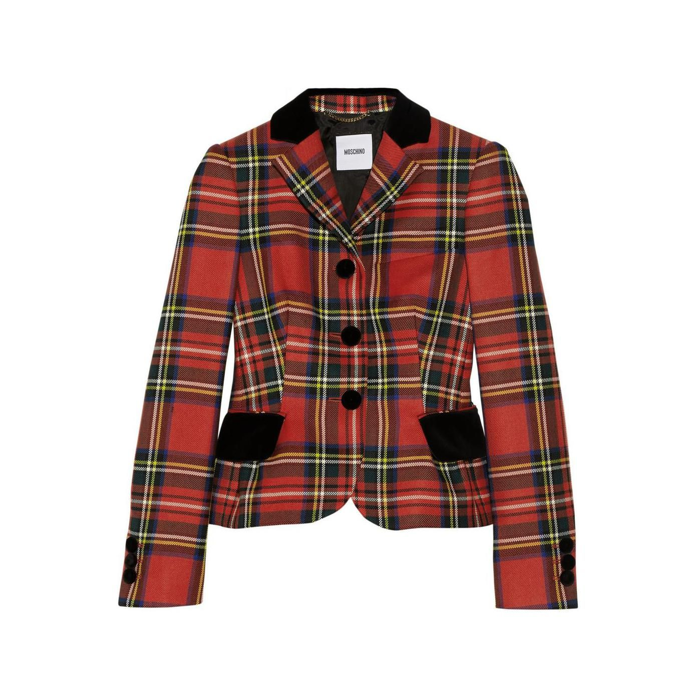 Moschino women's embroidered velvettrimmed tartan wool