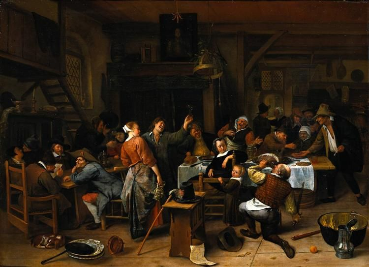 Prince`s day, 1660 by Jan Steen. Baroque. genre painting