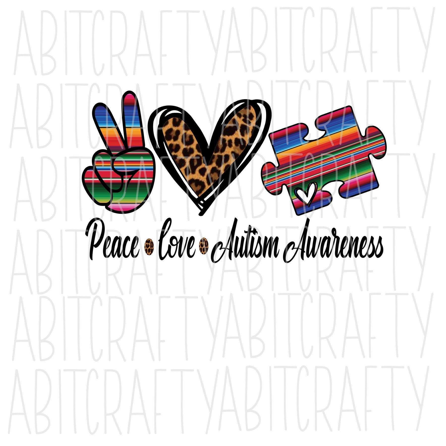Peace Love Autism Awareness Png Digital Download Etsy Peace And Love Fb Cover Photos Digital Download Etsy