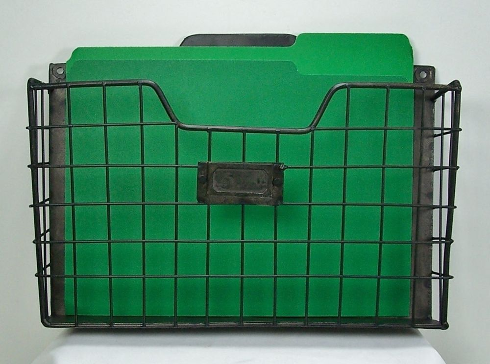 Metal Wall Pocket rustic style metal wire basket wall pocket organizer standard file